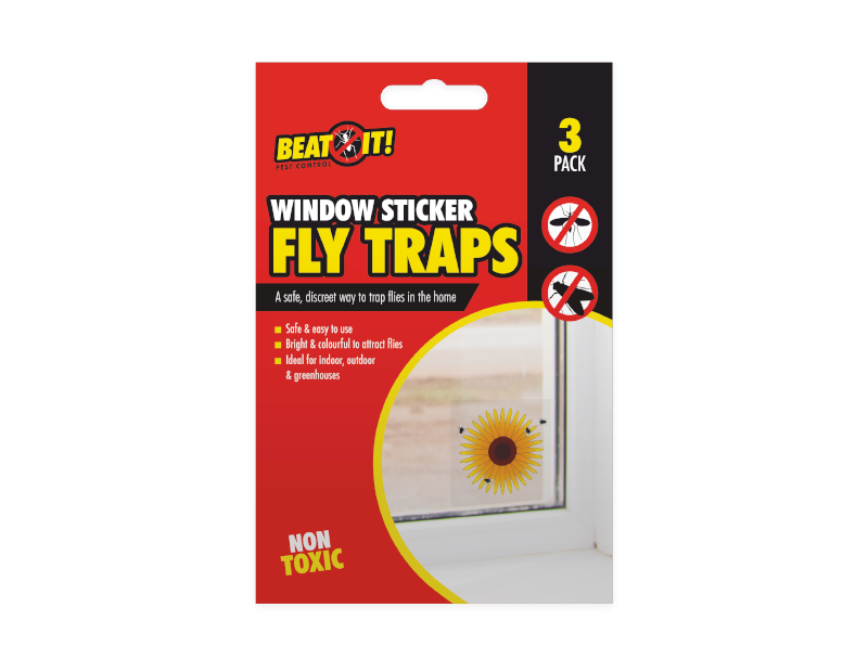 Fly Traps Sunflower Window Sticker 3 pack - iPro Accessories