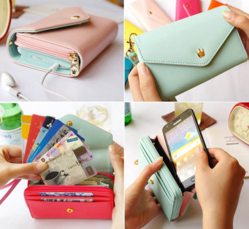 PU Leather Clutch Wallet Phone Case Card Holder Purse Pink - iPro Accessories