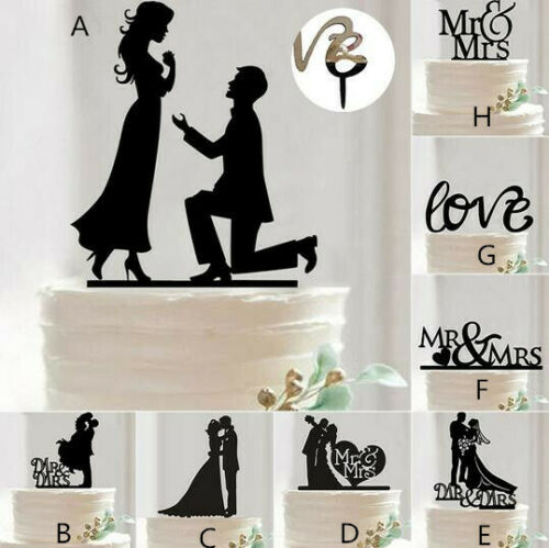 Cake Topper Decoration Wedding Engagement Birthday Party Acrylic Stand Black - iPro Accessories