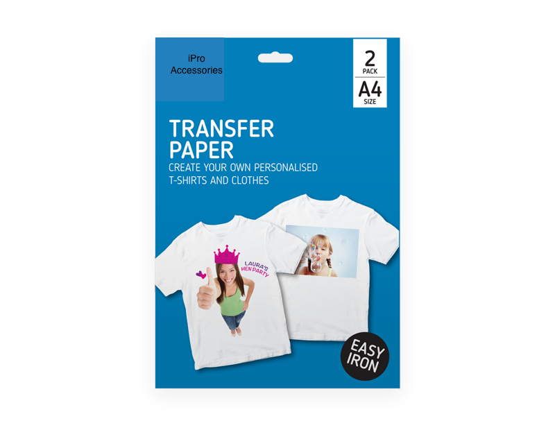 2 X A4 T Shirt Transfer Paper Iron On Light Fabrics Heat Press Inkjet Print - iPro Accessories
