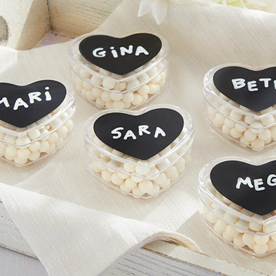 Set of 12 Heart Favour Boxes with Chalkboard Labels
