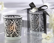 Damask Frosted Glass Tea Light Holder
