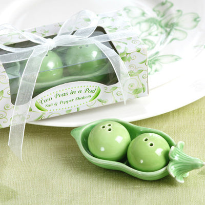 Two Peas in a Pod Ceramic Salt and Pepper Shakers