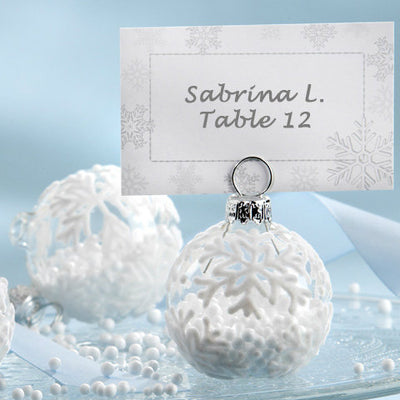 Snow Flurry' Flocked Glass Ornament Place Card/Photo Holder (Set of 6)