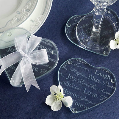 Heart Design Good Wishes Glass Coasters