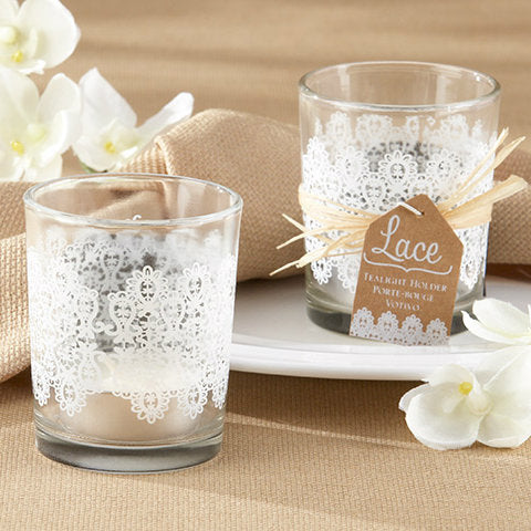 Lace' Glass Tealight Holder