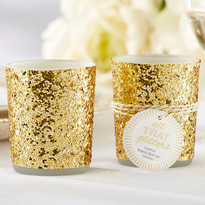 All That Glitters'Gold Glitter Votive/Tealight Holder
