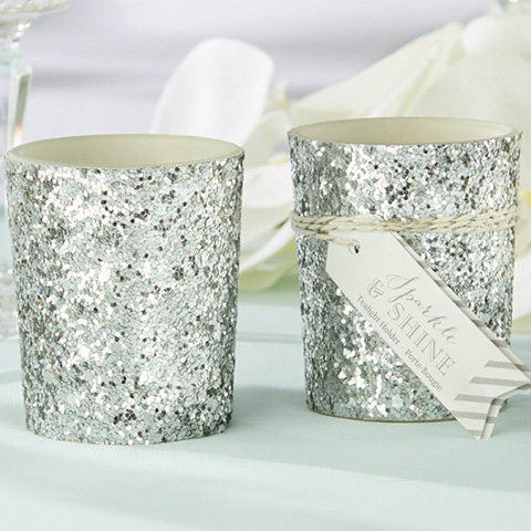 Sparkle and Shine' Silver Glitter Votive