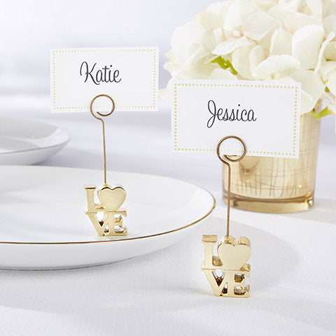 LOVE Gold Place Card Holder