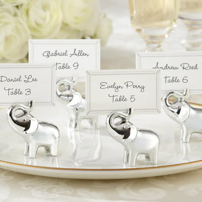 Silver Finish Lucky Elephant Place Card Holder