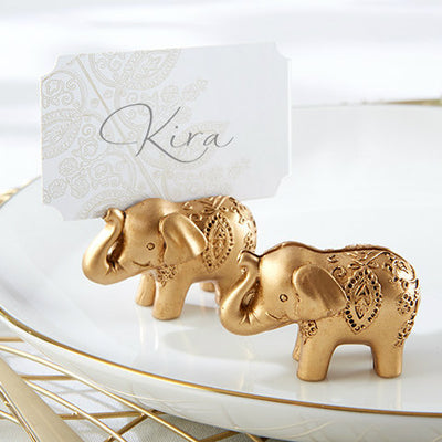Lucky Golden Elephant Place Card Holder