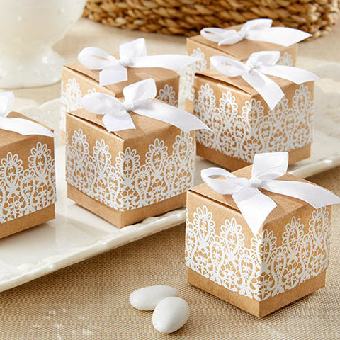 """Rustic & Lace"" Kraft Favour Box"