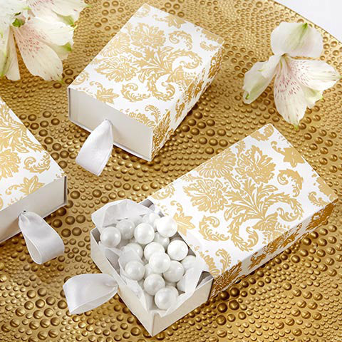 """Treasures"" Gold Damask Favour Box"