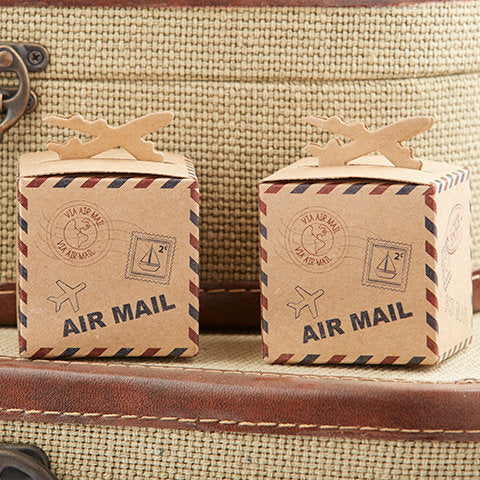 'Let the Adventure Begin' Airplane Kraft Favour Box
