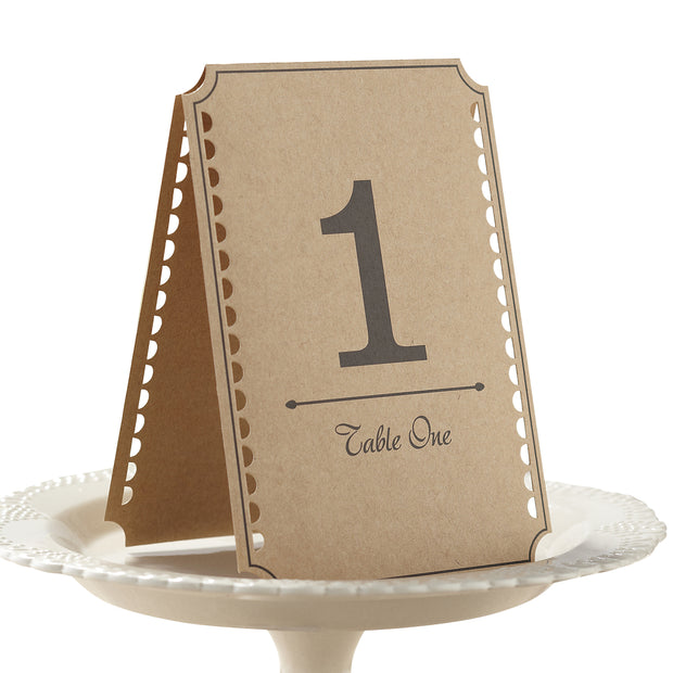 Brown Kraft Vintage Table Numbers 1-12