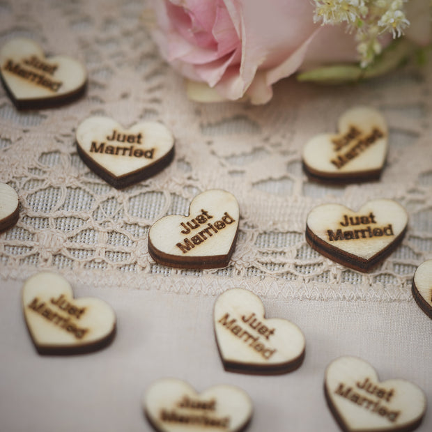 "Wooden Heart ""Just Married"" Confetti"