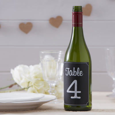 Chalkboard Bottle Sticker Table Numbers 1-12