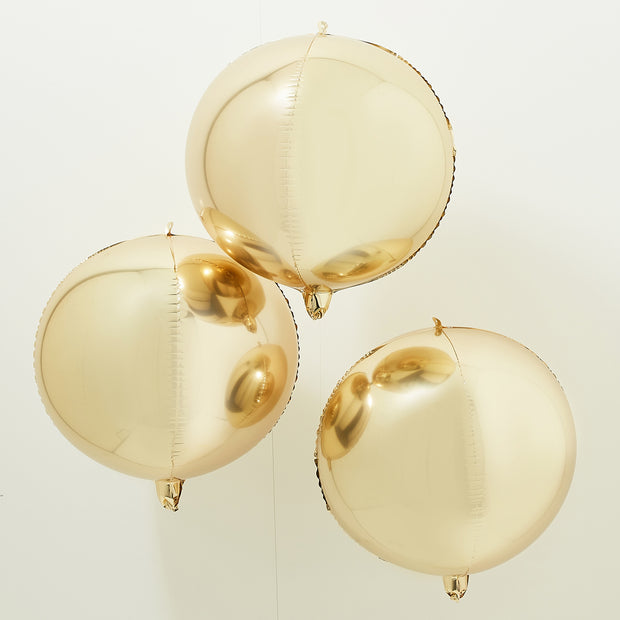 Gold Foil Orb Balloons (Set of 3)