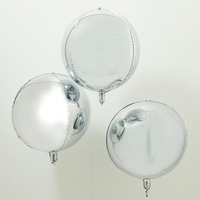 Silver Foil Orb Balloons (Set of 3)