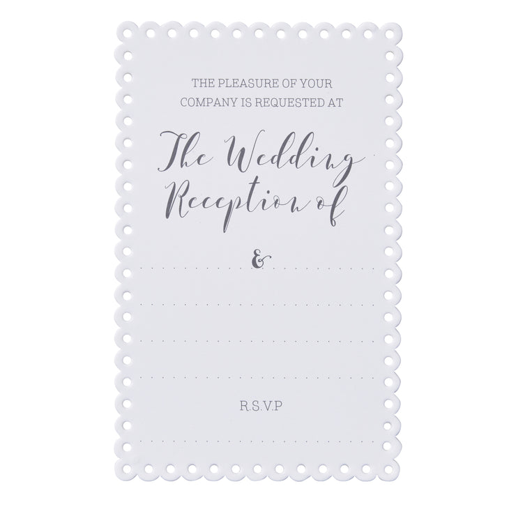 Scalloped White Evening Invitations (Pack of 10)