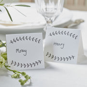 White Boho Vine Place Cards (Set of 10)