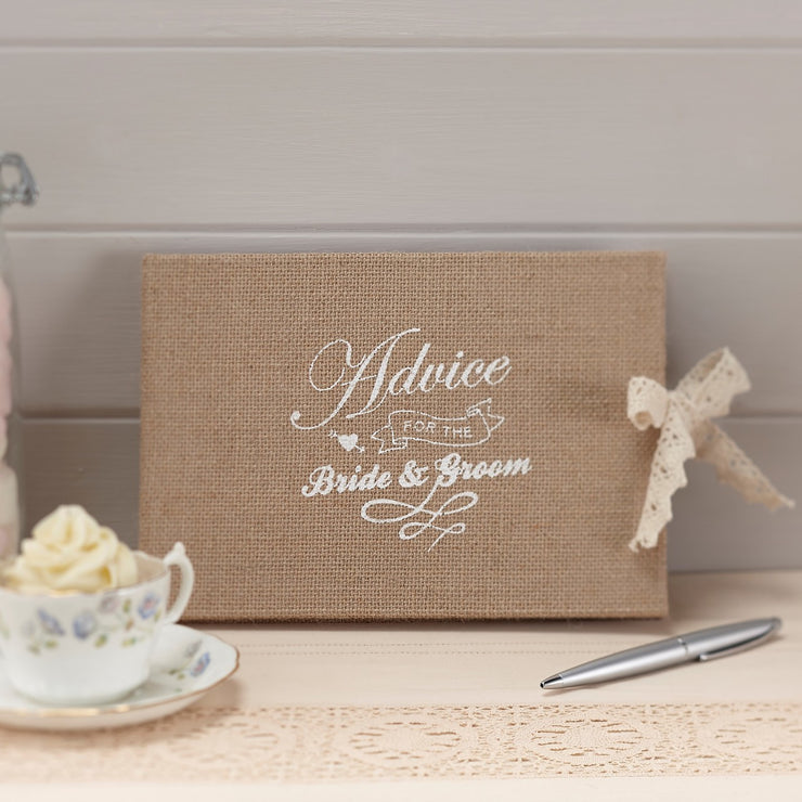 Advice For The Bride & Groom Hessian Burlap Book