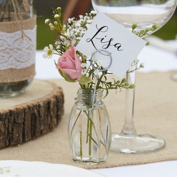 Mini Glass Vase Place Card Holders (Set of 4)