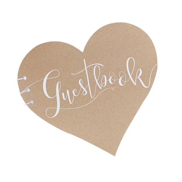 Heart Shaped Kraft Guestbook