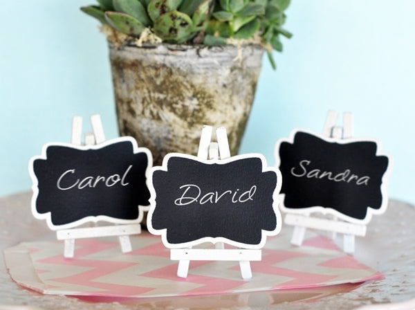 Set of Three White Framed Chalkboard Easel Placecards