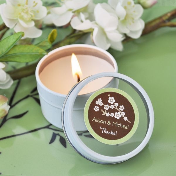 Personalised Cherry Blossom Round Candle Tins