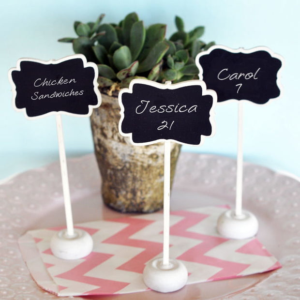 Set of Three Chalkboard Place Card Stands