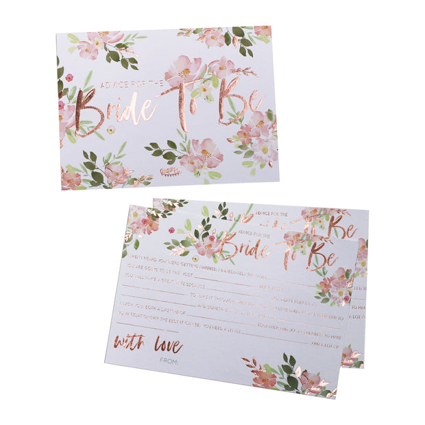 Floral Bride To Be Advice Cards (Set of 10)