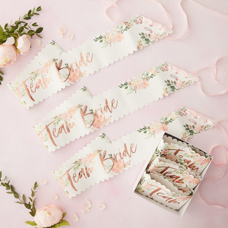Team Bride Floral Hen Sashes (Pack of 6)