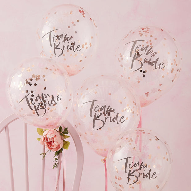 Team Bride Pink and Rose Gold Confetti Balloons (Pack of 5)