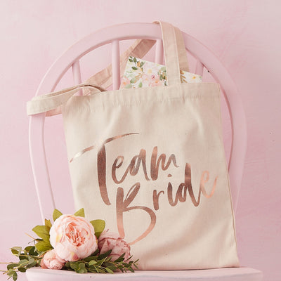 Team Bride Rose Gold Printed Tote Bag