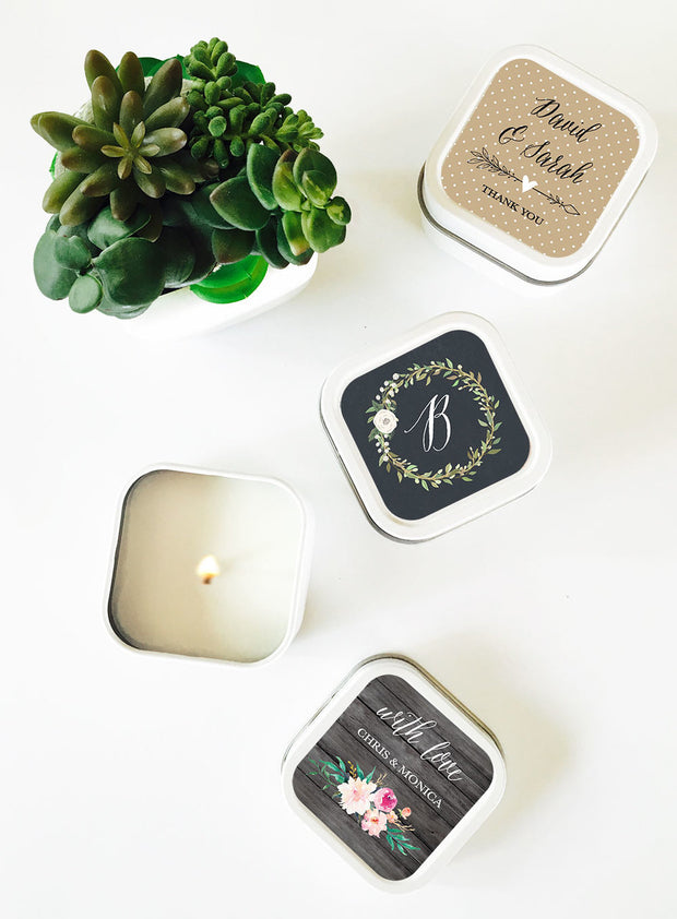Personalised Floral Square Candle Tins
