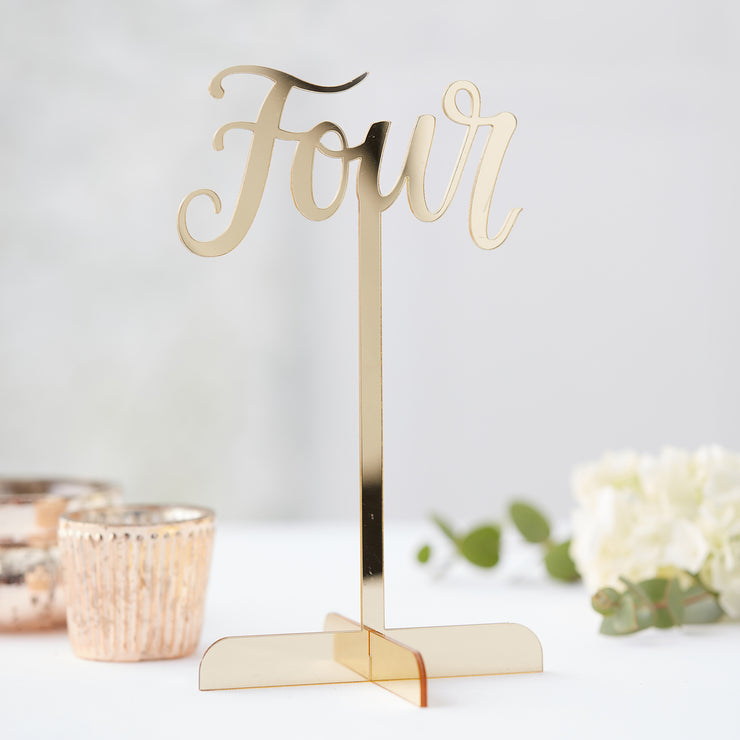 Gold Acrylic Table Numbers 1-12