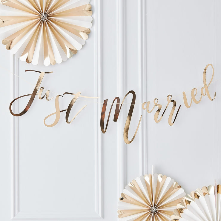 Just Married Gold Bunting Garland