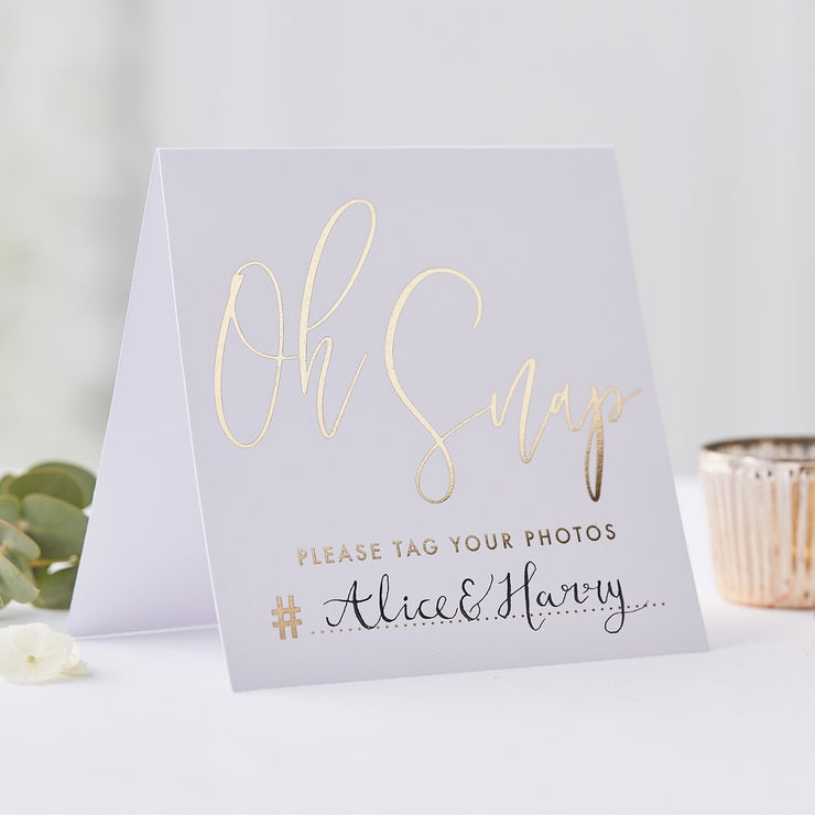 Gold Foil Script Instagram Wedding Tent Cards (Pack of 5)