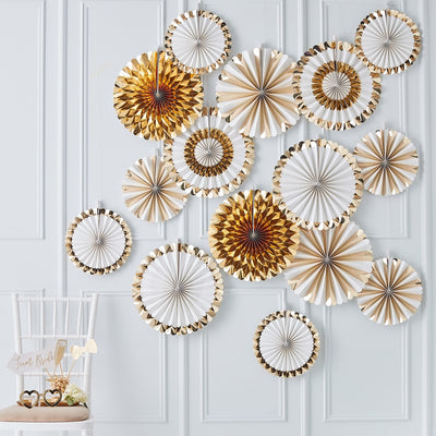 Gold Fan Decoration Backdrop (Set of 15 Fans)