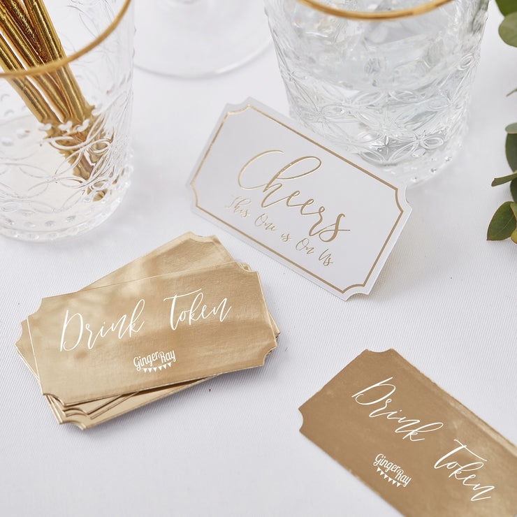 Gold Wedding Drink Tokens (Pack of 25)