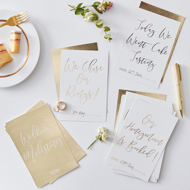 Gold Wedding Milestone Cards (Pack of 24)