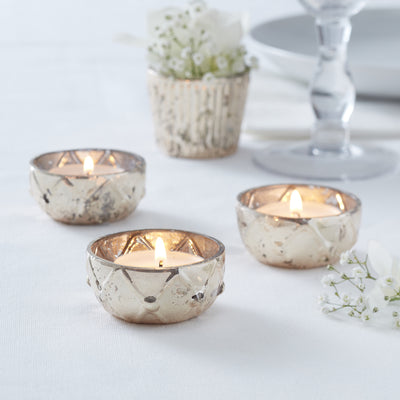 Gold Checked Glass Frosted Tealight Holder