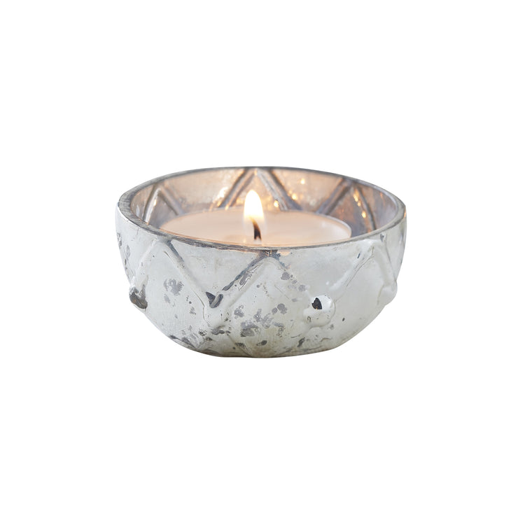 Silver Checked Frosted Glass Tealight Holder