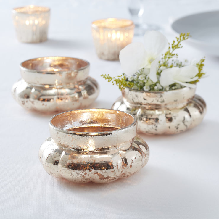 Gold Large Frosted Glass Tealight Holder