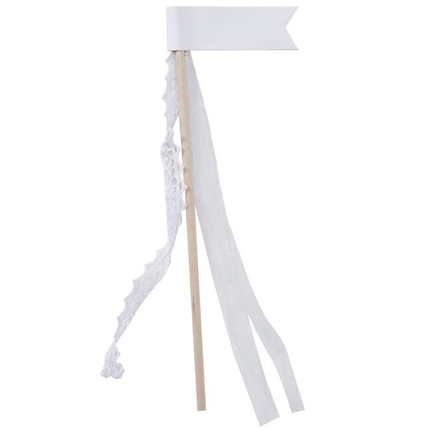 White Ribbon Flag Glass Decorations (Pack of 10)