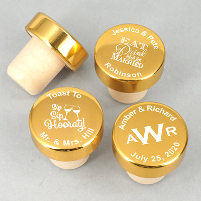 Personalised Gold Aluminium Top Bottle Stopper