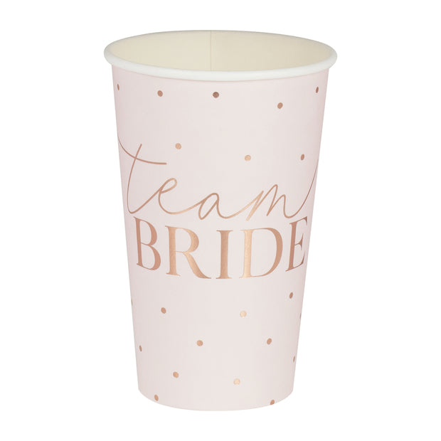 Rose Gold Team Bride Large Hen Party Cups - pack of 8