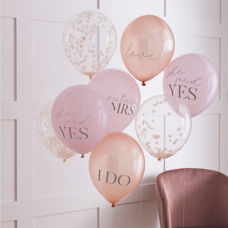 Mixed Pack Of  Blush Pink and Rose Gold Hen Party Balloons