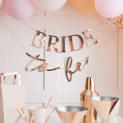 Rose Gold Bride To Be Hen Party Banner - Blush Hen
